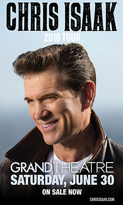 Promotional poster for Chris Isaak in the Grand Theatre at Grand Sierra Resort on Saturday, June 30, 2018