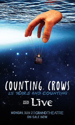 Promotional poster for Counting Crows with Live in the Grand Theatre at Grand Sierra Resort on Monday, July 2, 2018