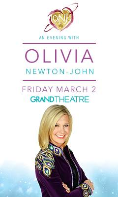 Promotional poster for An Evening with Olivia Newton-John, Friday, March 2, 2018
