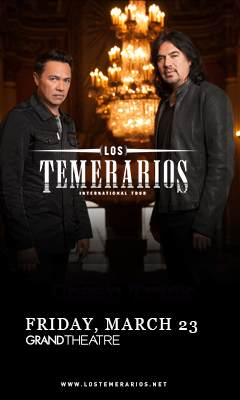 Promotional poster for Los Temerarios: International Tour in the grand Theatre at Grand Sierra Resort on Friday, March 23, 2018