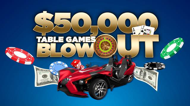 Graphic promoting 50k Table Games Blowout with image of a car, cash and casino chips