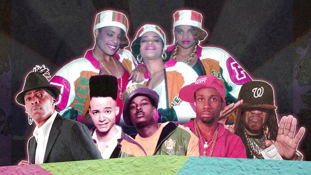 Graphic collage of 90s hip-hop artists
