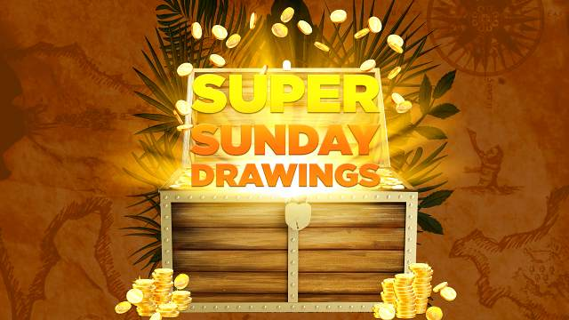 Promotional graphic for Super Sunday Drawings
