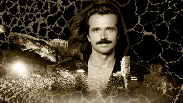 Promotional image of Yanni layered with photo of his concert at the Acropolis