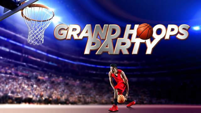 Graphic of Grand Hoops event with basketball player and hoop