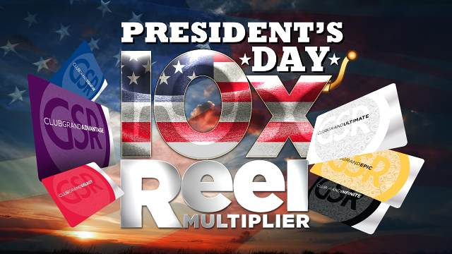 Image of red, white, and blue background with the words Presidents Day Weekend 10X Multiplier