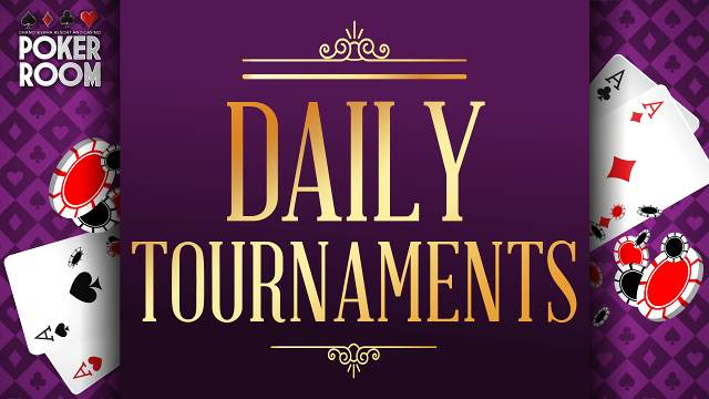 Poker Room Daily Tournaments logo on purple background