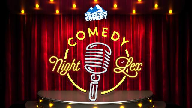 Graphic image of microphone on a stage to promote Reno-Tahoe comedy nights at LEX lounge