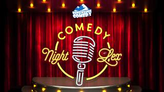 Reno-Tahoe comedy promotion at LEX Lounge with image of microphone on a stage